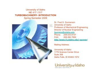 University of Idaho NE 417 / 517 TURBOMACHINERY ... - sngce