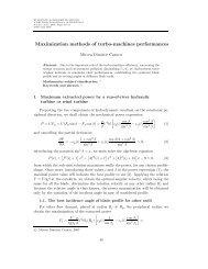 Maximization methods of turbo-machines performances
