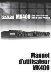 Manuel d'utilisateur MX400 - Lexicon