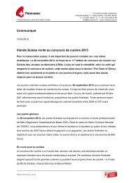Communiqué Viande Suisse invite au concours ... - Schweizer Fleisch