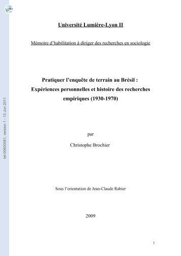 Pratiquer l'enquête de terrain au Brésil: expériences personnelles et ...