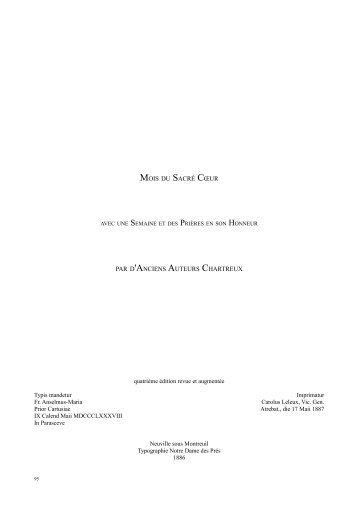 Mois du Sacré-Coeur par d'anciens auteurs - Missa