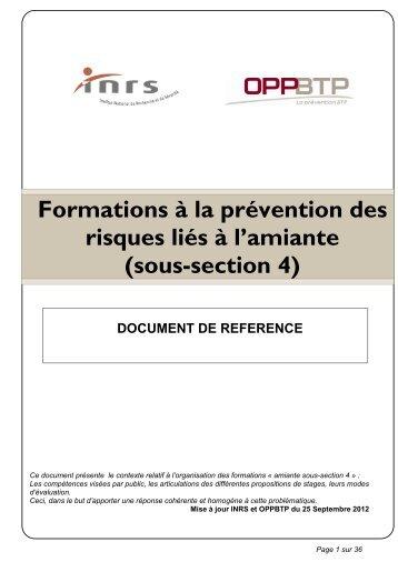 Formations à la prévention des risques liés à l'amiante (sous-section ...