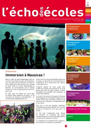 Immersion à Nausicaa ! - Enseignement de la ville de Liège