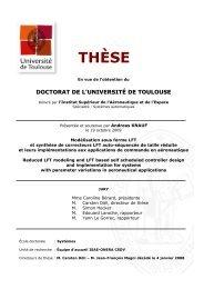 Modélisation sous forme LFT et synthèse de correcteurs LFT ... - ISAE