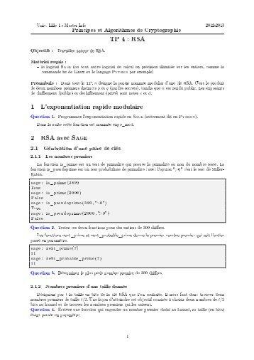 TP 4 : RSA 1 L'exponentiation rapide modulaire 2 RSA avec ... - FIL