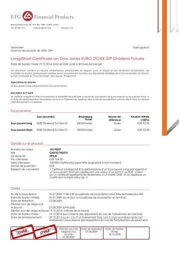 Long/Short Certificate on Dow Jones EURO STOXX 50® Dividend ...