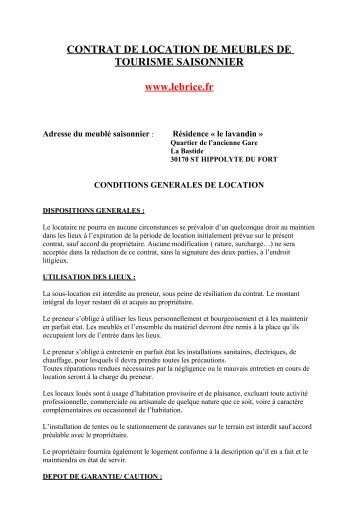 Contrat de location saisonni re albatros r sidence - Contrat de location saisonniere meuble ...