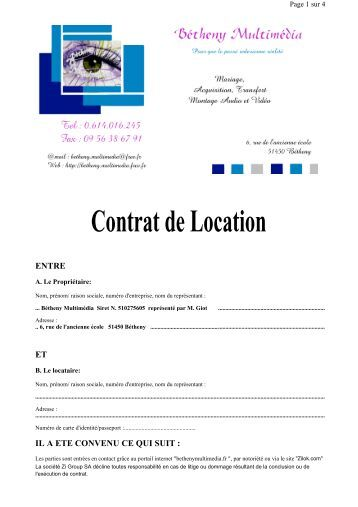 Contrat de location camping car 2013 garage m casport - Location de garage particulier ...