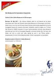 Die Bratwurst für besondere Ansprüche Zacherl's feine ... - Zimbo