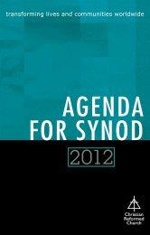 2012 Agenda for Synod - Christian Reformed Church