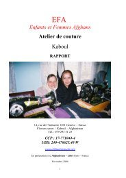rapport atelier de couture EFA nov2004 - Friends Of Humanity