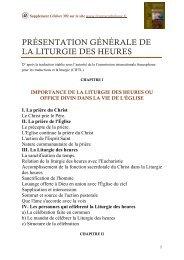 présentation générale de la liturgie des heures - Liturgie catholique