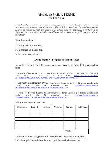 Modele bail terres agricoles document online - Chambre d agriculture d eure et loir ...