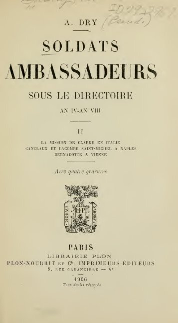 Soldats ambassadeurs sous le Directoire, an IV-an VIII - talleyrand