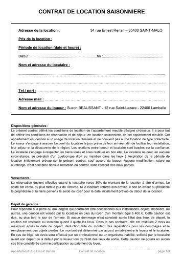 Contrat de location des mobilhome riviera vacances et - Contrat de location saisonniere meublee ...