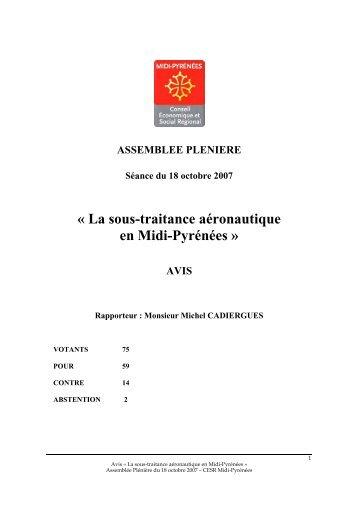 « La sous-traitance aéronautique en Midi-Pyrénées » - CESR