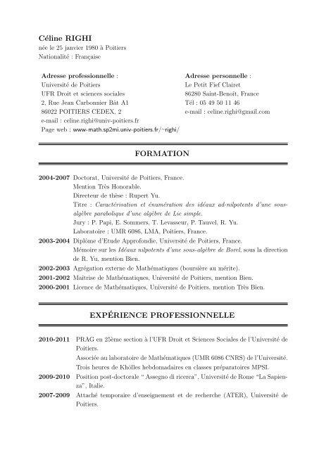 Céline RIGHI FORMATION EXPÉRIENCE PROFESSIONNELLE