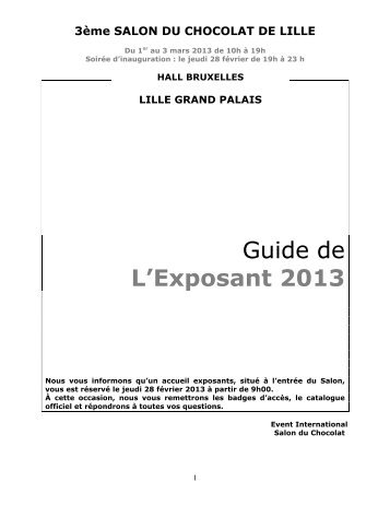 Guide de L'Exposant 2013 - Le Salon du Chocolat