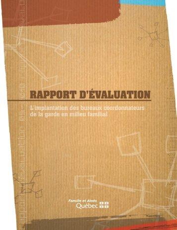 Rapport d'évaluation - L'implantation des bureaux coordonnateurs ...