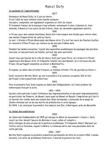 Raoul Dufy biographie pdf - Collège Louis Guilloux - Montfort sur Meu