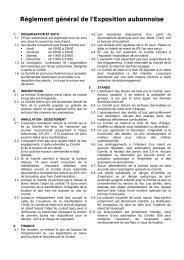 Règlement général de l'Exposition aubonnoise - aubonnexpo