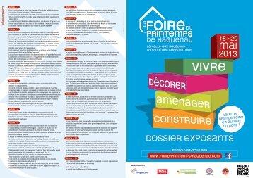 DOSSIER EXPOSANTS 2013 - Foire du Printemps Haguenau