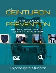 Le ceinturon sous la loupe de la prévention : exposé de la ... - Apsam