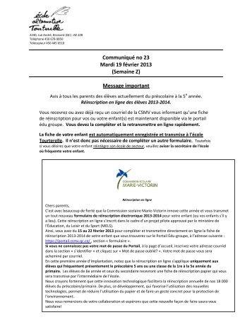 Communiqué no 23 Mardi 19 février 2013 ... - l'école Tourterelle