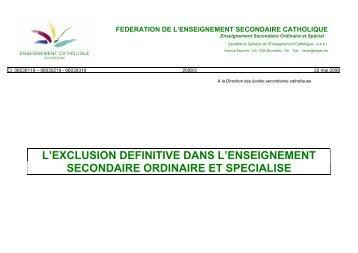 l'exclusion definitive dans l'enseignement secondaire ... - SeGEC
