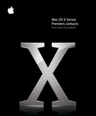 Mac OS X Server Premiers contacts - Apple
