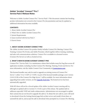 Adobe Acrobat Connect Pro 7 Service Pack 3 Release Notes