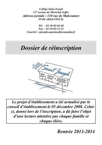 Dossier de réinscription - Collège Saint Joseph, collège catholique
