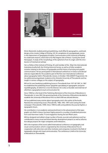 Klimis Mastoridis studied printing & publishing, small offset ...