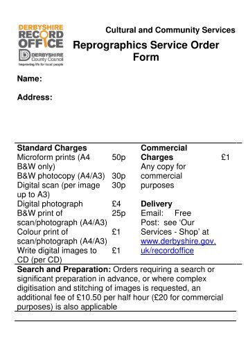 Reprographics Order Form- Large Print - Derbyshire County Council