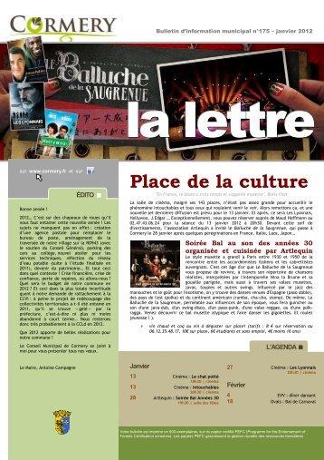 La Lettre n°175, janvier 2012 - Cormery