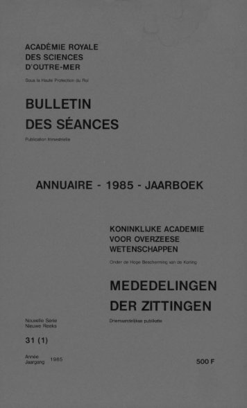 (1985) n°1 - Royal Academy for Overseas Sciences