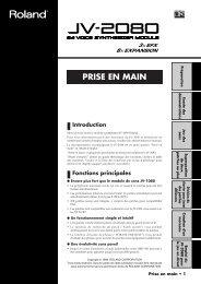 JV-2080 Mode d'emploi - Roland Central Europe