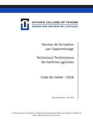 Normes de formation d'apprentissage - Ontario College of Trades
