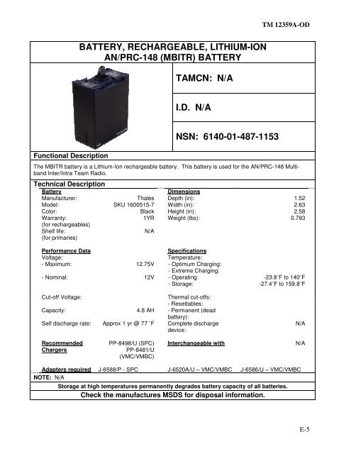 Battery Rechargeable Lithium Ion An Prc 148 Mbitr