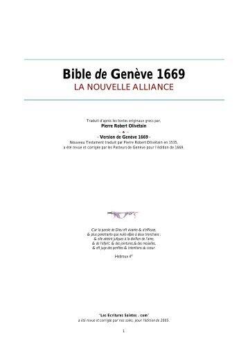 Bible de Genève 1669 LA NOUVELLE ALLIANCE Traduit d'après ...