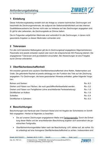 Anforderungskatalog zu technischen Zeichnungen - Zimmer GmbH