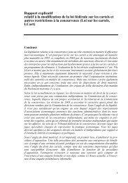 Rapport explicatif relatif à la modification de la loi fédérale sur ... - CH