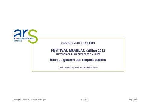 Bilan de gestion des risques auditifs festival MUSILAC 2012