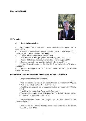 CV et liste des publications - Université d'Orléans