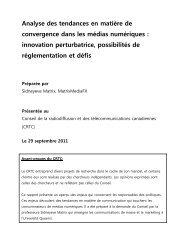 Analyse des tendances en matière de convergence dans ... - CRTC