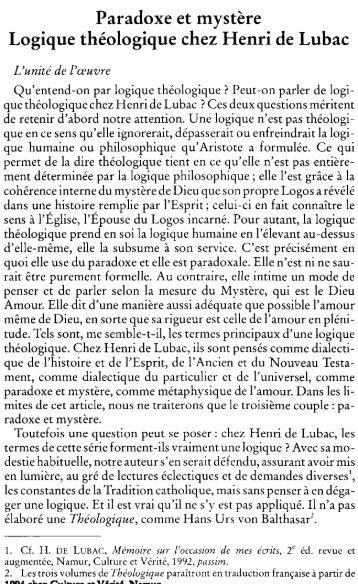 Paradoxe et mystère Logique théologique chez Henri de Lubac