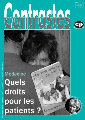 nov 2005 - Médecine : droit du patient (pdf) - Equipes Populaires