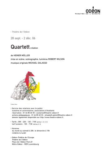 Quartett par Heiner Müller - Odéon Théâtre de l'Europe