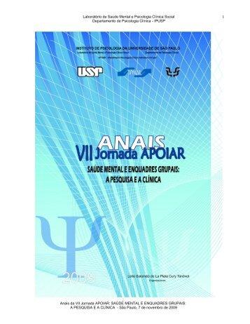 Caderno de Anais da VII Jornada Apoiar - Psicólogo Thiago de ...
